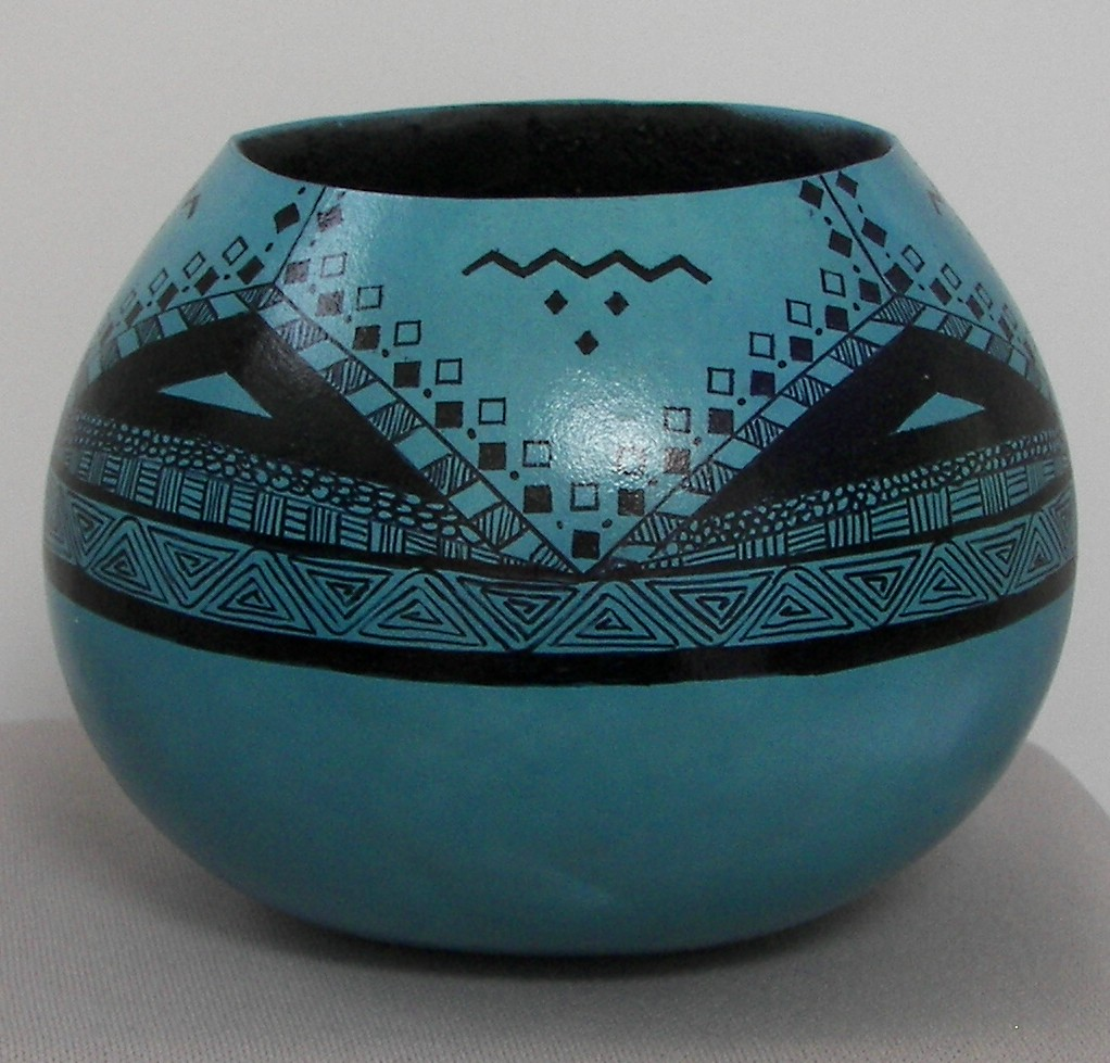 Gourd-Turquoise-with-Zentangle