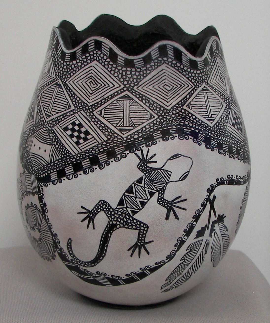 Gourd with White Ink Zentangle front