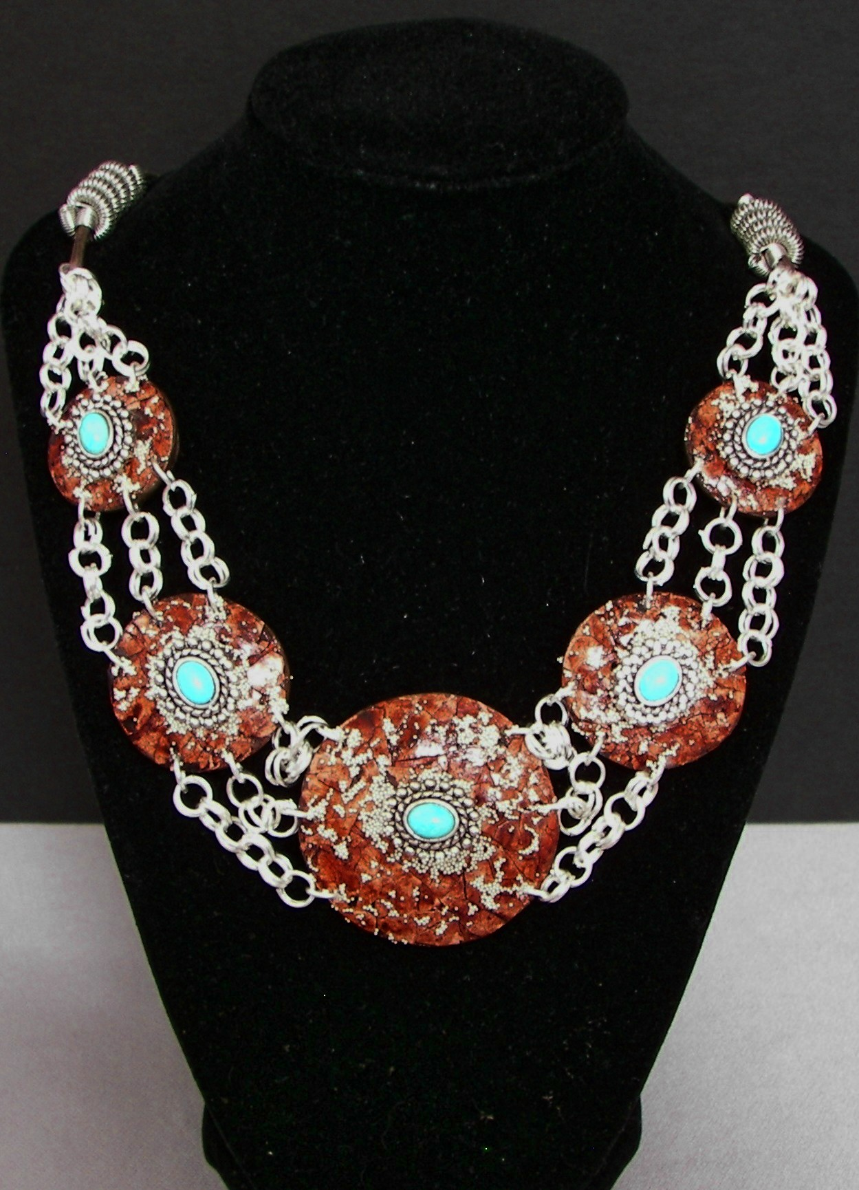 gourd-jewelry-turquoise-silver-5-piece-necklace