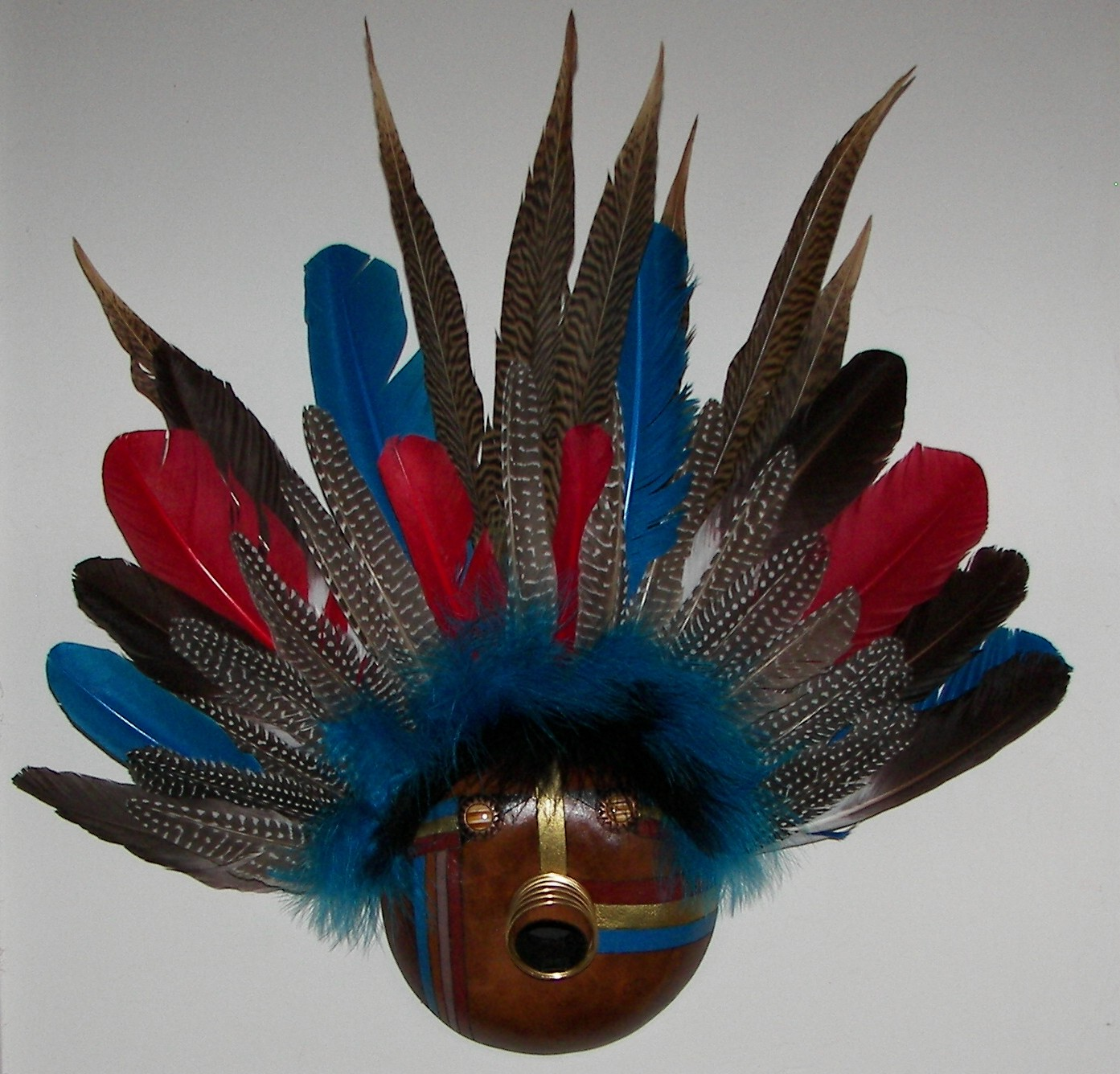 gourd-mask-blue-feathers-mixed