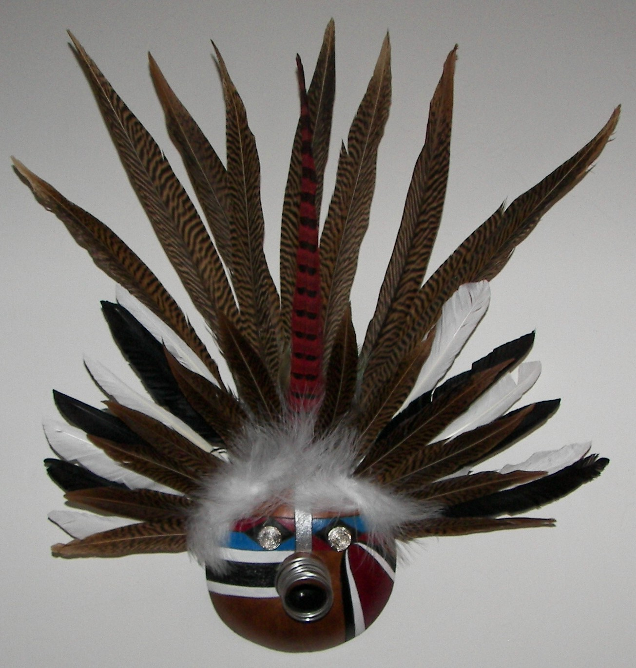 gourd-mask-white-and-pheasant-feathers-silver-eyes