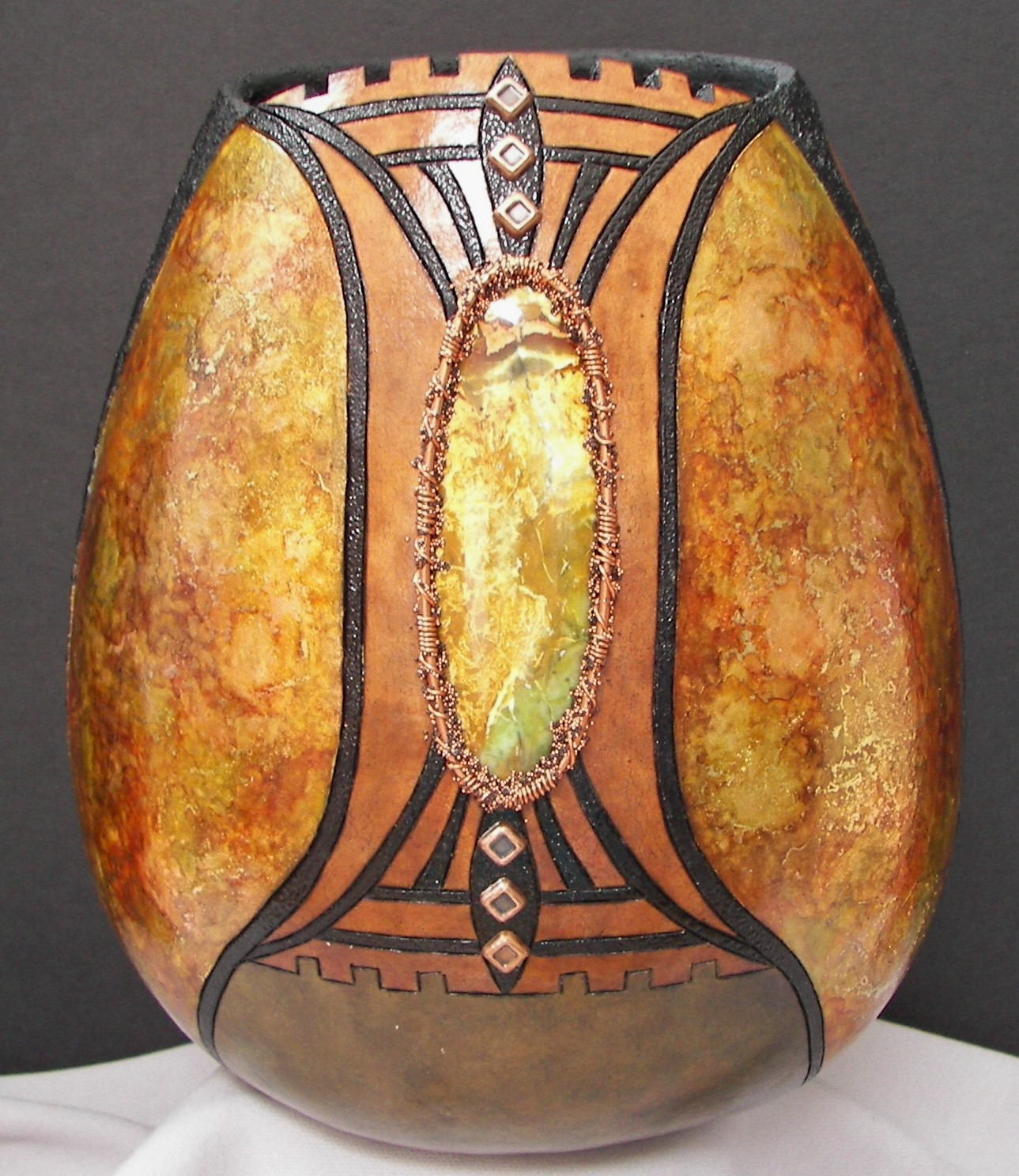 gourd-with-alcohol-inks-and-semi-precious-stone